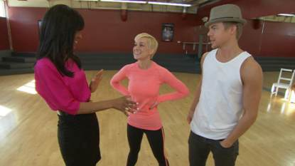 Kellie Pickler and her professional partner Derek Hough chat with Access' Shaun Robinson at their 'Dancing with the Stars' rehearsal on March 12, 2013