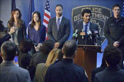 Nina Lisandrello as Tess, Kristin Kreuk as Catherine, Brian White as Joe, Sendhil Ramamurthy as A.D.A. Gabe Lowan, and Max Brown as Evan in the 'Any Means Possible' episode of 'Beauty and the Beast'