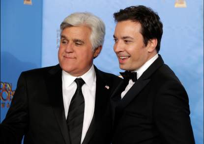 Jay Leno and Jimmy Fallon pose in the press room at the 70th Annual Golden Globe Awards held at The Beverly Hilton Hotel on January 13, 2013 in Beverly Hills