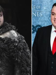 John Bradley as Samwell Tarly in 'Game of Thrones' (left) and at the Seattle 'Game of Thrones' event (right)