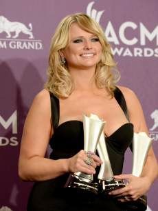 Miranda Lambert, winner of Song of the Year and Single Record of the Year for 'Over You' and Female Vocalist of the Year, poses in the press room during the 48th Annual Academy of Country Music Awards at the MGM Grand Garden Arena on April 7, 2013 in Las Vegas