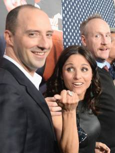 Tony Hale, Julia Louis-Dreyfus and Matt Walsh arrive at HBO Presents &#8216;Veep&#8217; Season 2 Premiere - Red Carpet at Paramount Studios on April 9, 2013