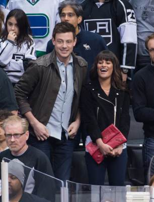 &#8216;Glee&#8217;s&#8217; Cory Monteith and Lea Michele attend a hockey game between the Vancouver Canucks and the Los Angeles Kings at Staples Center on March 23, 2013 in Los Angeles