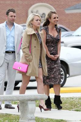 Britney Spears, along with sister Jamie Lynn Spears and fiance Jamie Watson, are spotted heading to Easter church services in Kentwood, La., on March 31, 2013