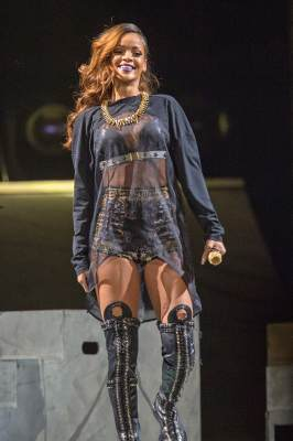 Rihanna performs on stage at Honda Center on April 9, 2013 in Anaheim, Calif.