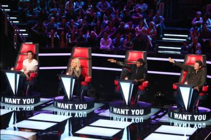 Adam Levine, Shakira, Usher and Blake Shelton on NBC&#8217;s &#8216;The Voice&#8217;