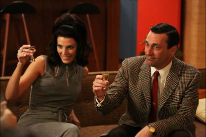 Megan (Jessica Pare) and Don Draper (Jon Hamm) in the Season 6 premiere of AMC's 'Mad Men'