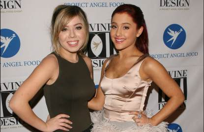 Jennette McCurdy and Ariana Grande arrive at Project Angel Food's 2011 Divine Design Gala at The Beverly Hilton hotel on December 7, 2011 in Beverly Hills, Calif.