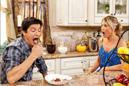 Mark Orlando (Ken Marino) impresses Bevarly (Leslie Bibb) with his meatball-eating skills