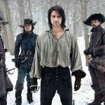 Santiago Cabrera (Aramis), Tom Burke (Athos), Luke Pasqualino (D'Artagnan) and Howard Charles (Porthos) in BBC America's 2014-series 'The Musketeers'