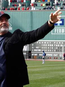 Neil Diamond sings 'Sweet Caroline' during a game between the Kansas City Royals and Boston Red Sox in the 8th inning at Fenway Park in Boston on April 20, 2013