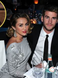 Miley Cyrus & Liam Hemsworth, inset: Billy Ray Cyrus