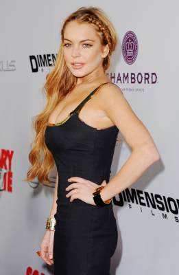 Lindsay Lohan arrives at the premiere of 'Scary Movie V' at ArcLight Cinemas Cinerama Dome on April 11, 2013 in Hollywood, Calif.