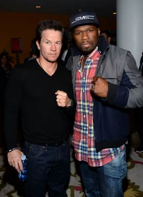 Mark Wahlberg and Curtis '50 Cent' Jackson attend the Cinema Society and Men's Fitness screening of 'Pain and Gain' at the Crosby Street Hotel on April 15, 2013