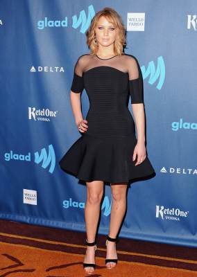 Jennifer Lawrence arrives at the 24th Annual GLAAD Media Awards at JW Marriott Los Angeles at L.A. Live in Los Angeles on April 20, 2013