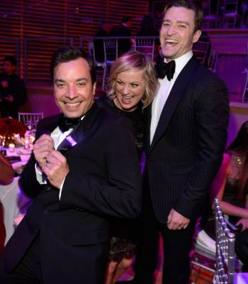 Jimmy Fallon, Amy Poehler and Justin Timberlake have a laugh at the TIME 100 Gala, TIME'S 100 Most Influential People In The World on April 23, 2013 in New York City