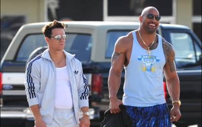 Mark Wahlberg and Dwayne 'The Rock' Johnson are sighted on the set of 'Pain And Gain' on April 4, 2012 in Miami