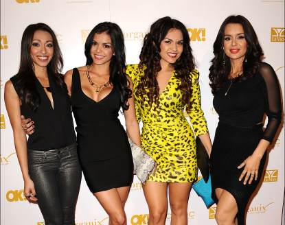 Presley Hernandez, Tiara Hernandez, Tahiti Hernandez and Jaime Kailani of The Lylas attends OK! Magazine&#8217;s pre-Grammy event at Sound in Hollywood on February 7, 2013 