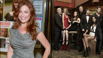 Melissa Archer (left) and with the cast of &#8216;OLTL&#8217; (right)