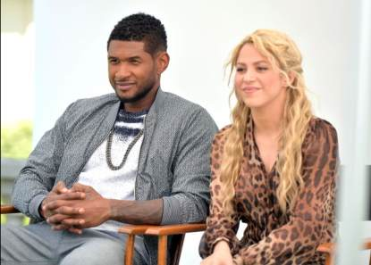 Usher and Shakira attend the NBC Universal Summer 2013 Press Day at Langham Hotel on April 22, 2013 in Pasadena, Calif.