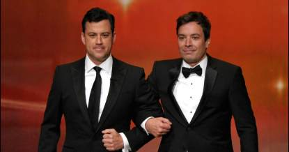 Jimmy Kimmel and Jimmy Fallon speak onstage during the 63rd Primetime Emmy Awards at the Nokia Theatre L.A. Live on September 18, 2011 in Los Angeles