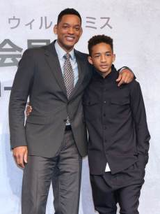 Will Smith and Jaden Smith pose for photo during the &#8216;After Earth&#8217; Press Conference at the Ritz Carlton Tokyo on May 2, 2013 in Tokyo, Japan