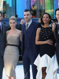 Chris Pine, Alice Eve, Zachary Quinto, Zoe Saldana and Benedict Cumberbatch attend the UK Premiere of 'Star Trek Into Darkness' at The Empire Cinema on May 2, 2013 in London, England