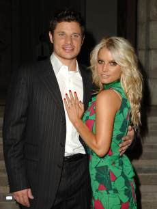 Nick Lachey and Jessica Simpson at the Home of Eva and Michael Chow in Beverly Hills, California in 2005