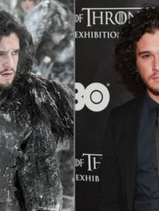 Kit Harington as Jon Snow in &#8216;Game of Thrones,&#8217; and Kit Harington on a red carpet at a &#8216;Game of Thrones&#8217; event