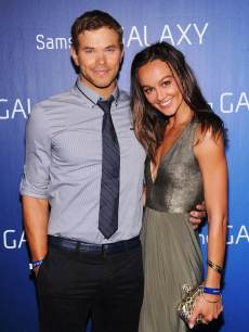 Kellan Lutz and Sharni Vinson at the Samsung Galaxy Shangri-La Party on February 2, 2013 in New Orleans, Louisiana