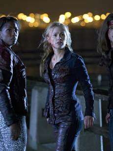 Rutina Wesley as Tara Thornton, Anna Paquin as Sookie Stackhouse and Lucy Griffiths as Nora Gainsborough in 'True Blood' Season 6