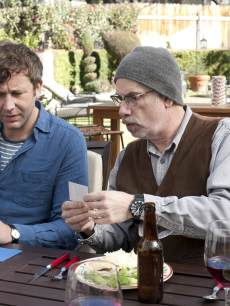 Chris O'Dowd and Christopher Guest on the 'Family Tree' set