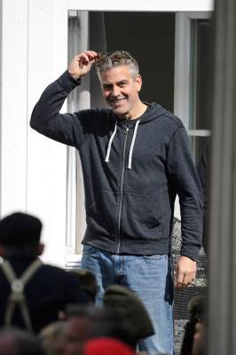 George Clooney is seen on set of his current project 'The Monuments Men' on April 29, 2013 in Goslar, Germany