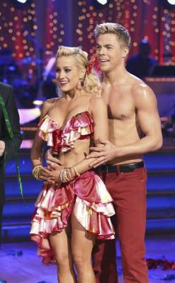 Kellie Pickler and Derek Hough listen to the judges on &#8216;Dancing with the Stars,&#8217; April 29, 2013