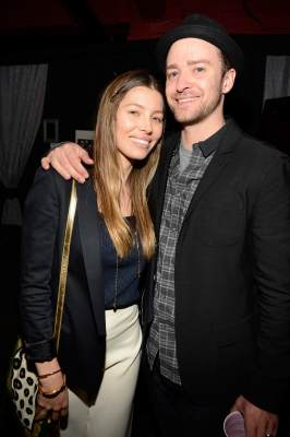 Jessica Biel and Justin Timberlake are seen backstage after MasterCard Priceless Premieres presents Justin Timberlake at Roseland Ballroom on May 5, 2013 in New York City