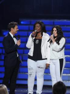 Candice Glover and Kree Harrison at the &#8216;American Idol&#8217; Season 12 Grand Finale at the Nokia Theater L.A. Live, May 16, 2013