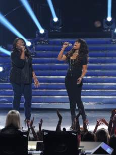 Candice Glover sings with Jennifer Hudson on the 'American Idol' Season 12 Grand Finale at the Nokia Theatre L.A. Live, May 16, 2013