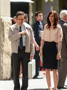 Ben Stiller and Kristen Wiig film a scene for &#8216;The Life and Times of Walter Mitty&#8217; movie set in Midtown Manhattan on May 17, 2013