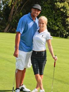 Hank Baskett and Kendra Wilkinson Baskett attend the 2nd annual Hank Baskett Classic Golf Tournament at the Trump National Golf Club Los Angeles on May 17, 2013 in Rancho Palos Verdes, Calif.