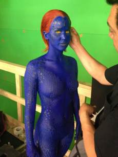Jennifer Lawrence seen on the set of 'X-Men: Days of Future Past' as Mystique on May 20, 2013
