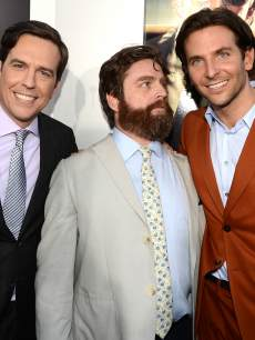 Ed Helms, Zach Galifianakis, and Bradley Cooper arrive at the premiere of Warner Bros. Pictures' 'Hangover Part 3' on May 20, 2013 in Westwood, Calif.