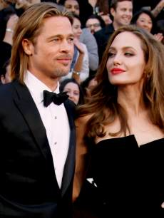 Brad Pitt and Angelina Jolie arrive at the 84th Annual Academy Awards on February 26, 2012 in Hollywood, Calif.