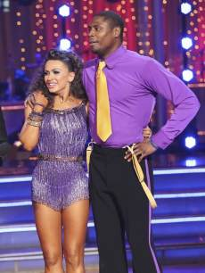 Jacoby Jones and Karina Smirnoff listen to the judges on the 'Dancing' finals, May 20, 2013