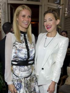 Gwyneth Paltrow and Kate Hudson pose at Goop's party to launch the summer season, at Mark's Club on May 21, 2013 in London, England