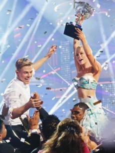 Kellie Pickler and Derek Hough seen after winning 'Dancing With The Stars' Season 16 on May 22, 2013