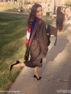 Eva Longoria seen earning her Master's Degree in Chicano Studies at Cal State University Northridge on May 22, 2013