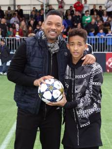 Will Smith and son Jaden Smith attend UEFA's Champions Festival at Queen Elizabeth Olympic Park on May 25, 2013 in London