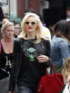 Gwen Stefani sports a black leather jacket and red bag for a trip to Chinatown in Los Angeles on May 24, 2013