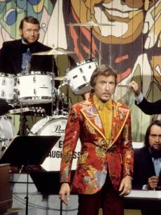 Tonight Show band leader Doc Severinsen tapes the 10th anniversary show on September 29, 1972 (Ed Shaughnessy, pictured in back on drums)