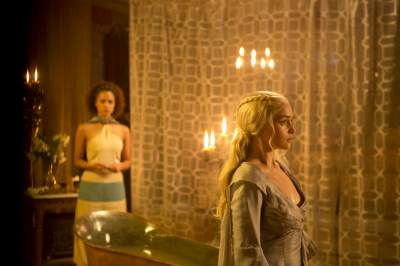Nathalie Emmanuel as Missandei and Emilia Clarke as Daenerys in &#8216;Game of Thrones,&#8217; Season 3, Episode 308, &#8216;Second Sons&#8217;